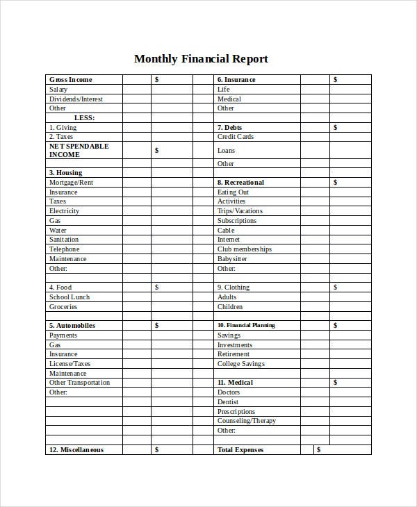 monthly financial report1