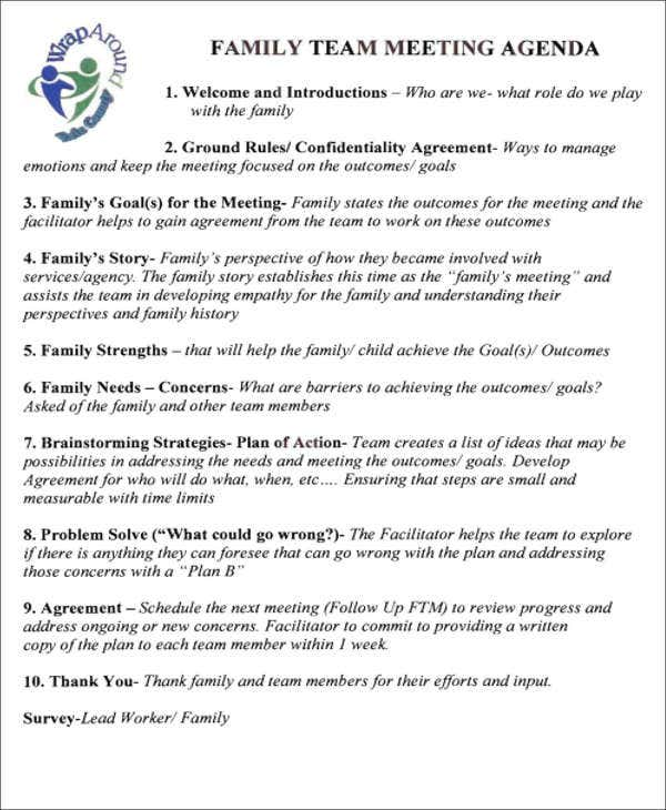 weekly family schedule agenda template