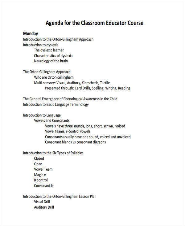 Classroom Agenda Examples  Free Sample Example Format Download