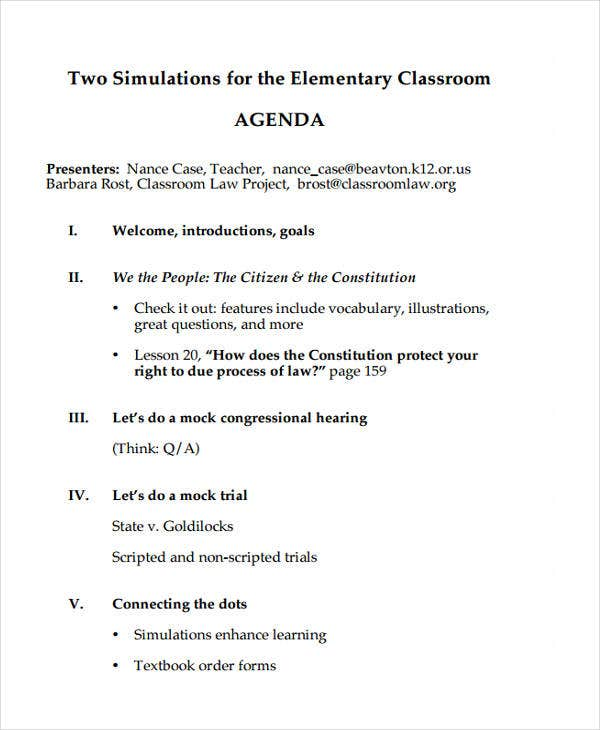Sample Classroom Agenda Example