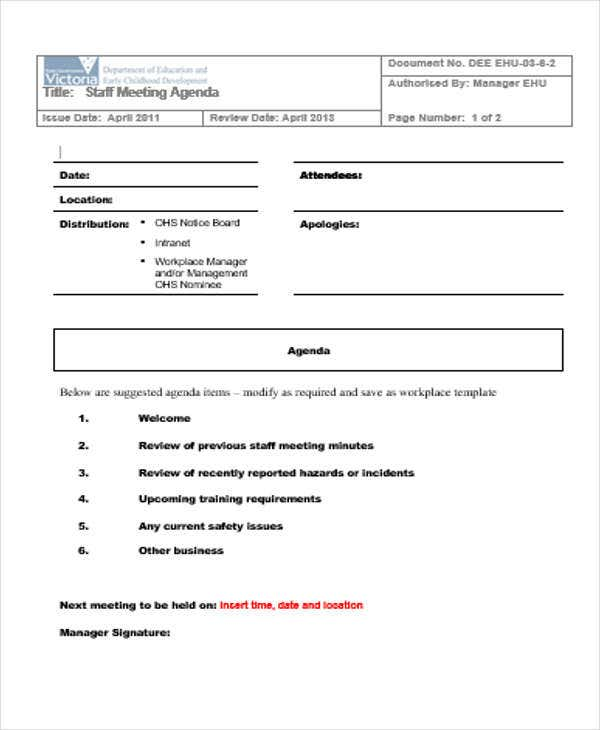 Staff Meeting Agenda Outline Template  Agenda Outline