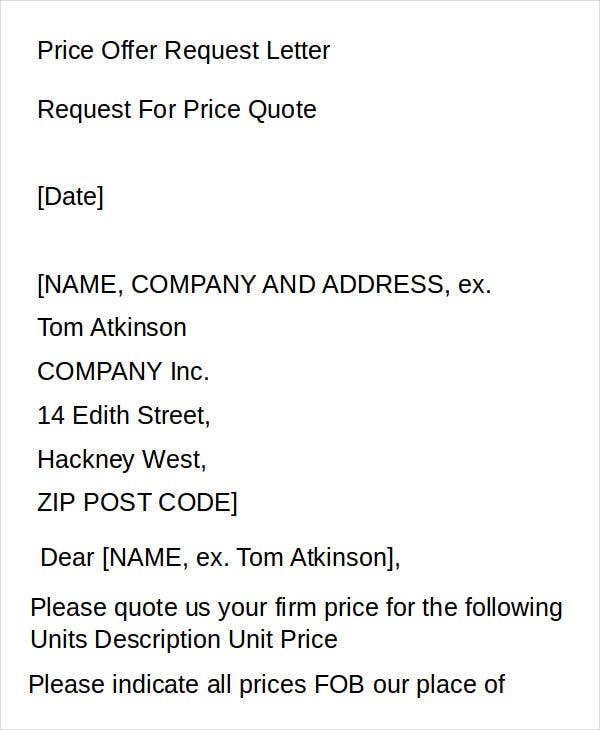 Price Offer Request Letter