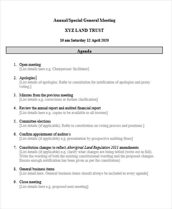 agenda outline template in word