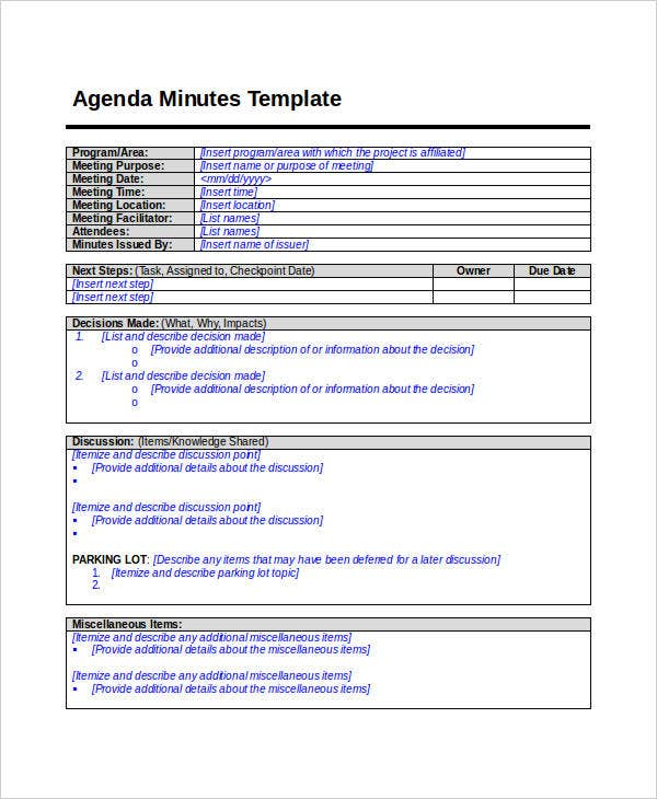 Nice Agenda Minutes Template In DOC Within Minutes Agenda Template