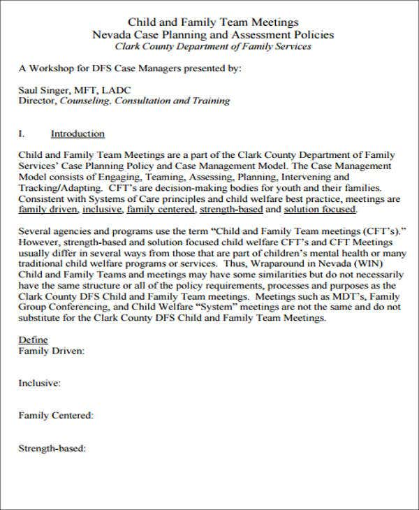family management agenda template