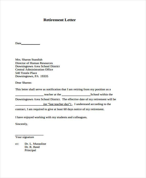 retirement resignation letter format1
