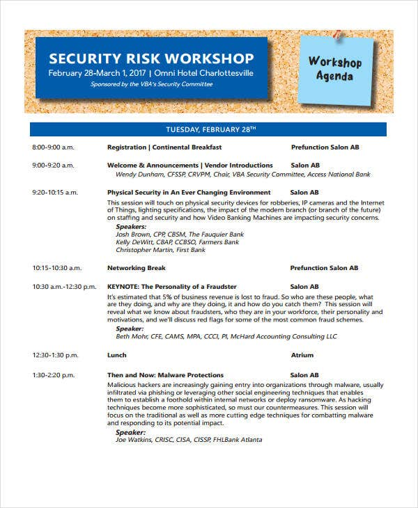 risk workshop agenda