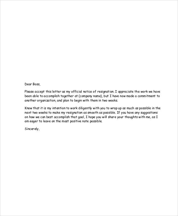 Heartfelt resignation letters 9 free sample example format heartfelt resignation letter to boss expocarfo Images