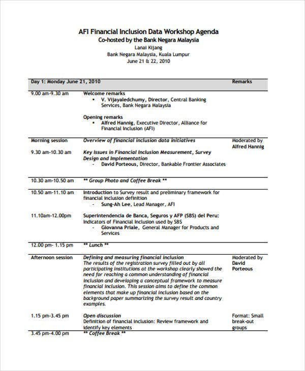 finance workshop agenda