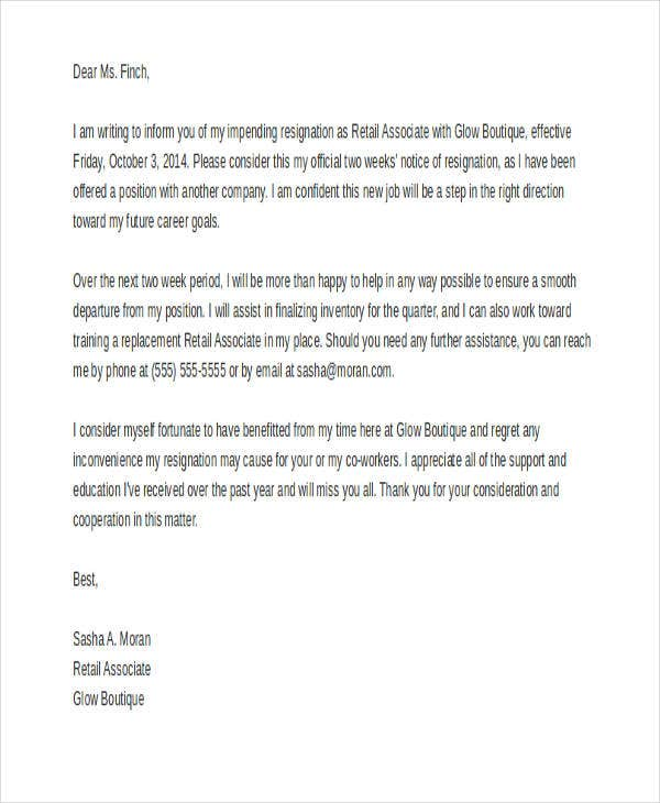 8+ Retail Resignation Letter Template - Sample, Example, Format