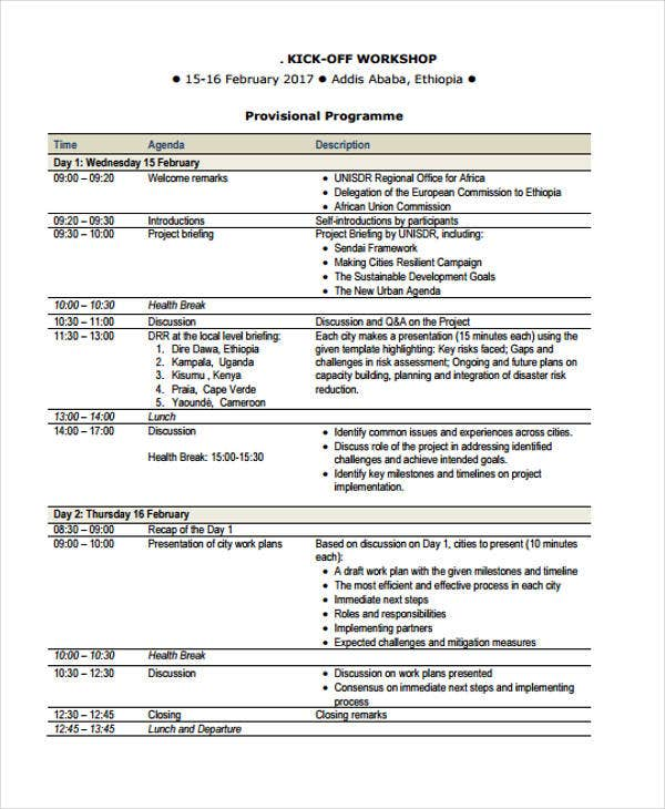 kick off workshop agenda