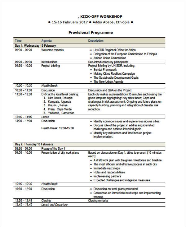 Workshop Agenda Samples - 16+ Free Sample, Example Format Download ...