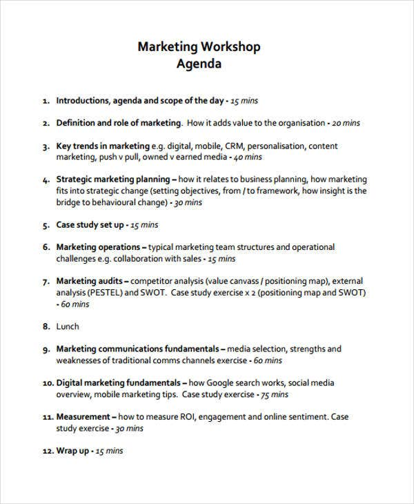 workshop marketing agenda