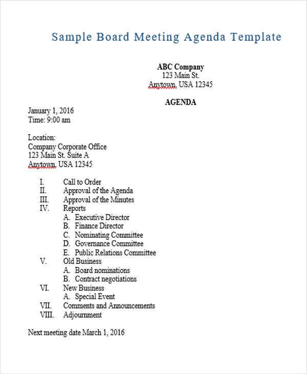 Board Meeting Agenda Outline Template