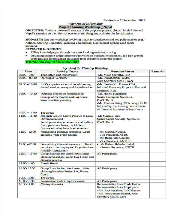 project planning workshop agenda