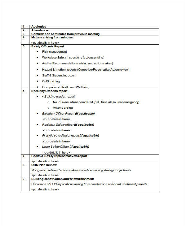 10 meeting agenda samples free sample example format for Ohs management plan template