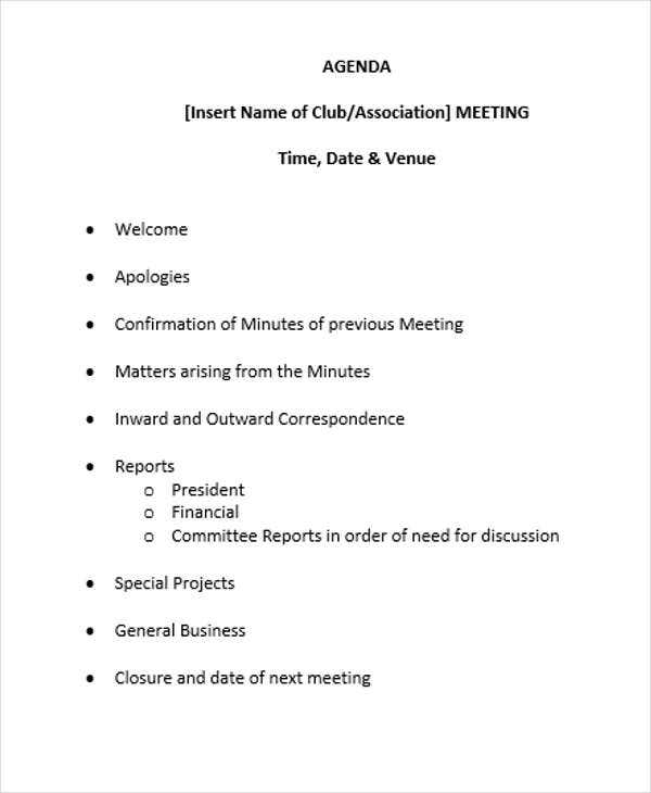 Club Meeting Agenda Outline Template