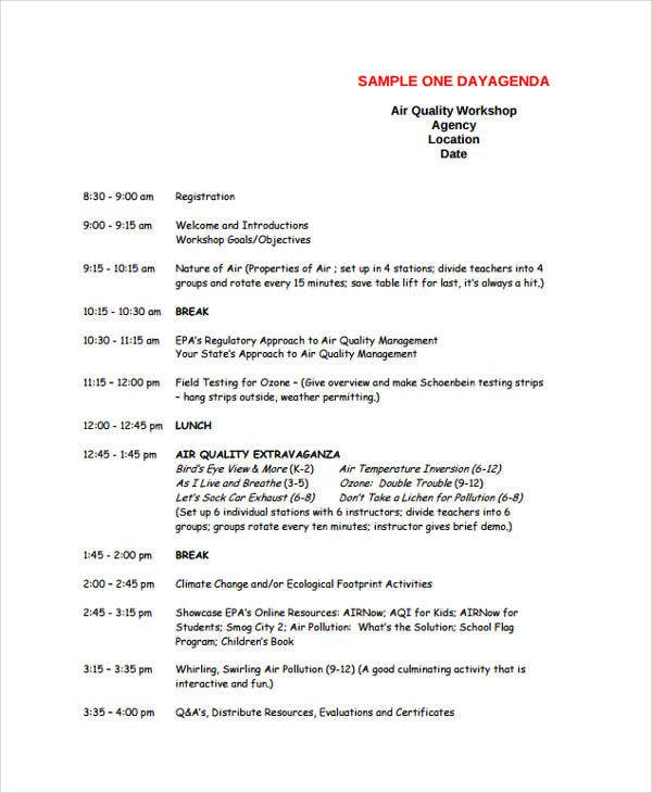 quality workshop agenda