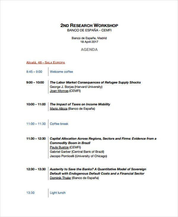 research workshop agenda