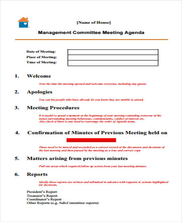 Committee Agenda Outline Template