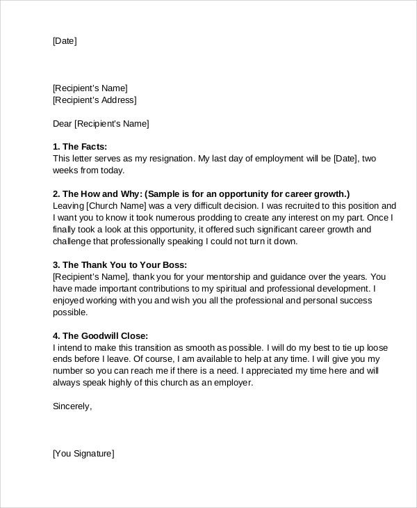 9 Church Resignation Letter Template Free Sample Example – Secretary Resignation Letter