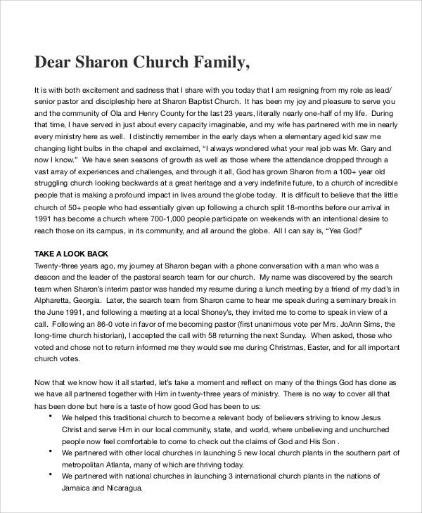 church pastor resignation letter