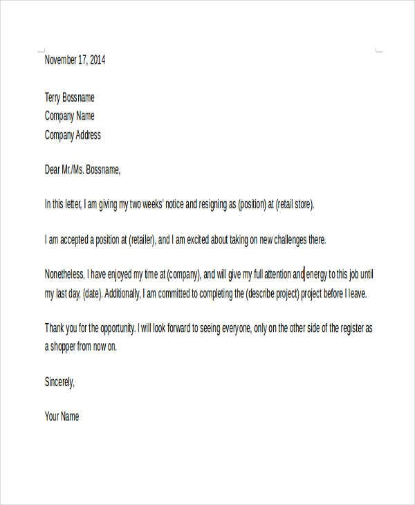 Retail Resignation Letter Template  Sample Example Format