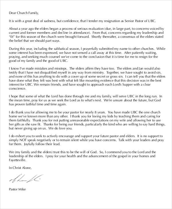 senior church pastor resignation letter