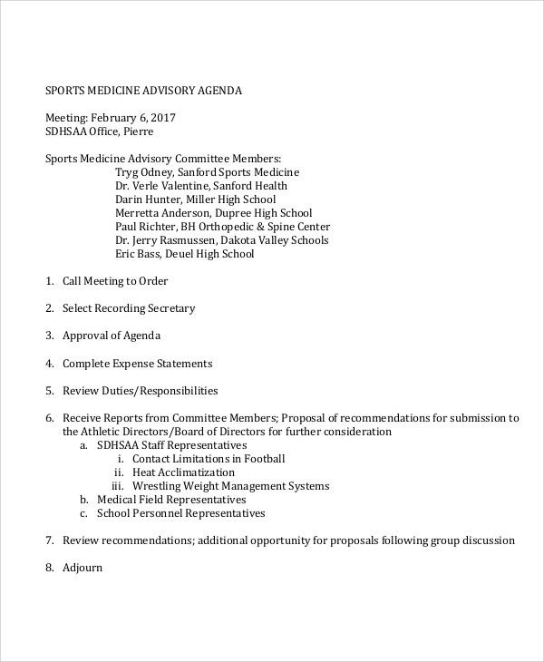 sports medicine advisory agenda template