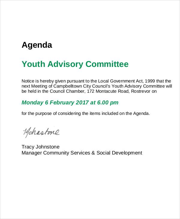 youth advisory committee agenda