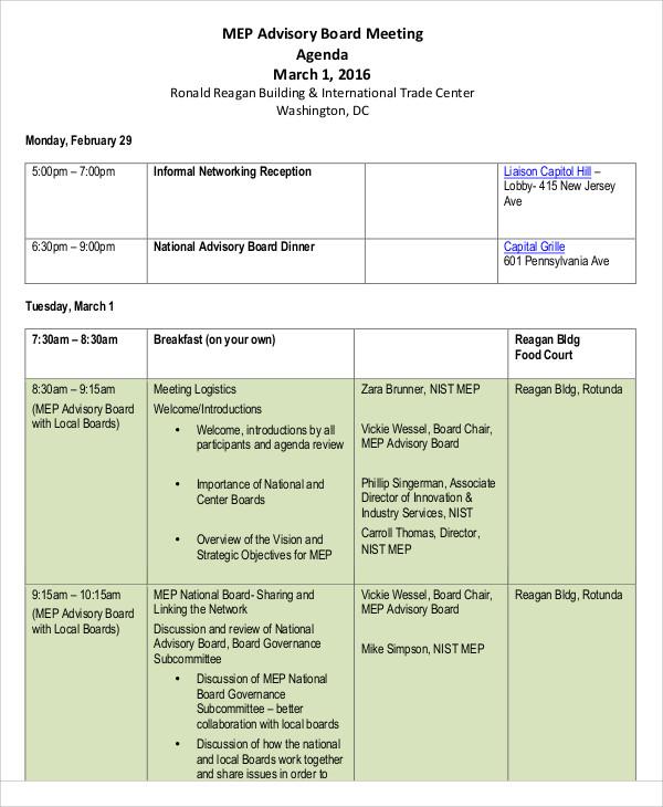 advisory board national meeting agenda