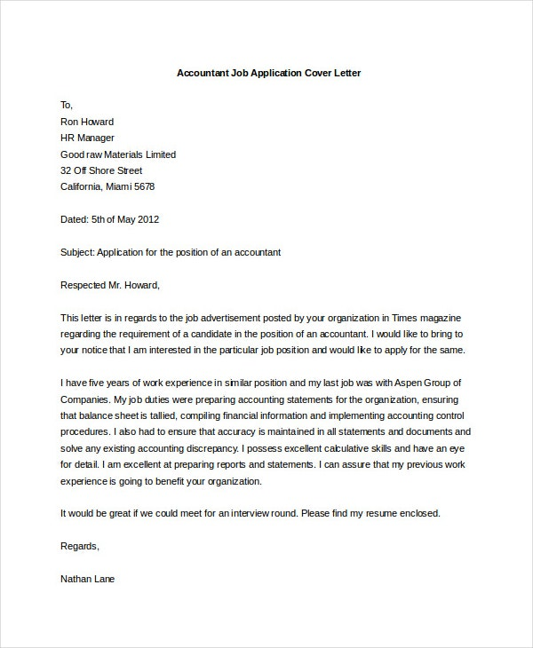 cover letter for junior accountant cv Accountant cover letter example is a sample for financial professional using resume for position in accounting, finance, administration and office support.