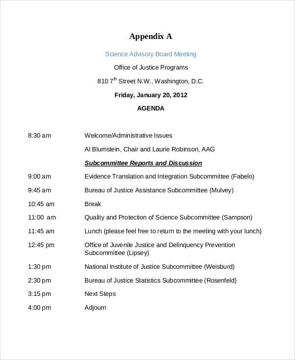 scientific advisory board meeting agenda