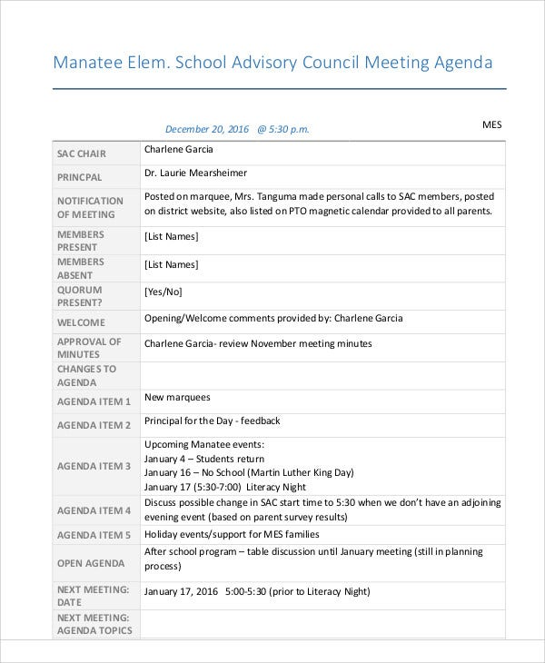 10  sample advisory agenda