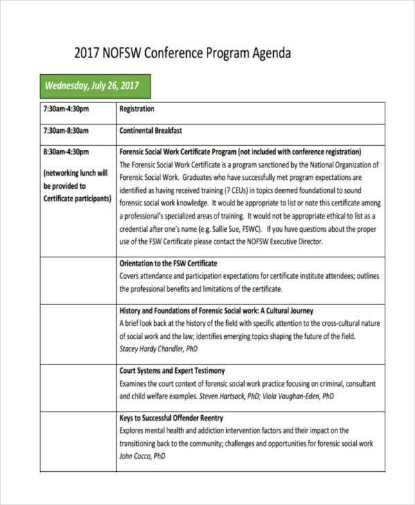 sample program agenda templates
