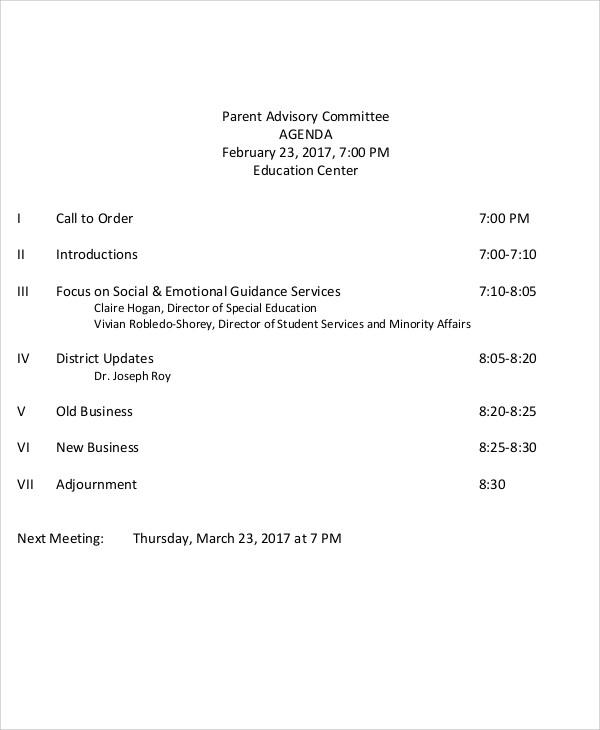 parent advisory committee agenda