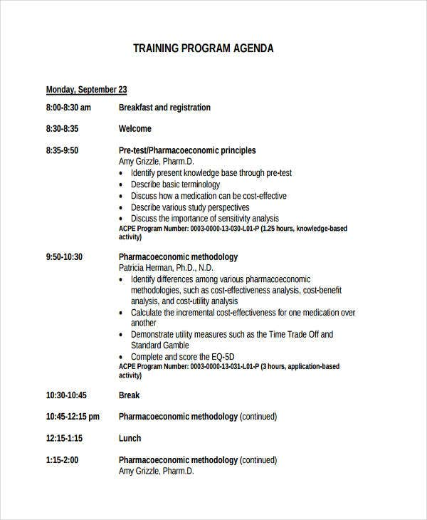 training program agenda1