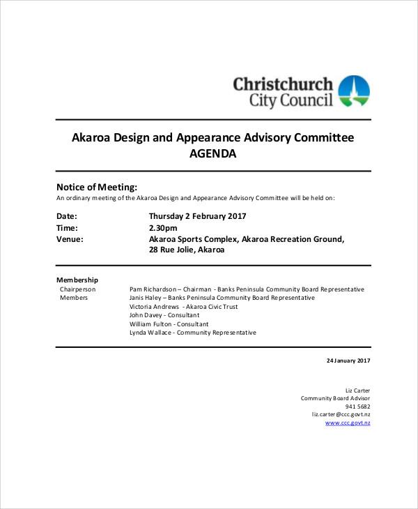 advisory committee meeting agenda sample