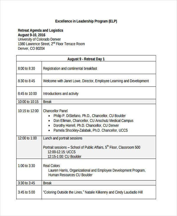 leadership program agenda