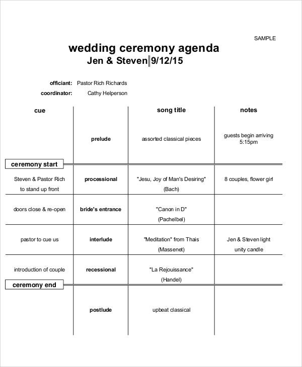 Ceremony Agenda Templates   Free Word Pdf Format Download