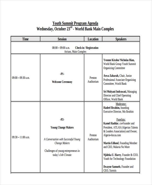 youth program agenda