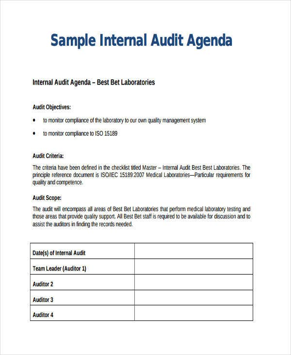Audit agenda templates 9 free word pdf format downlaod for Internal audit scope template