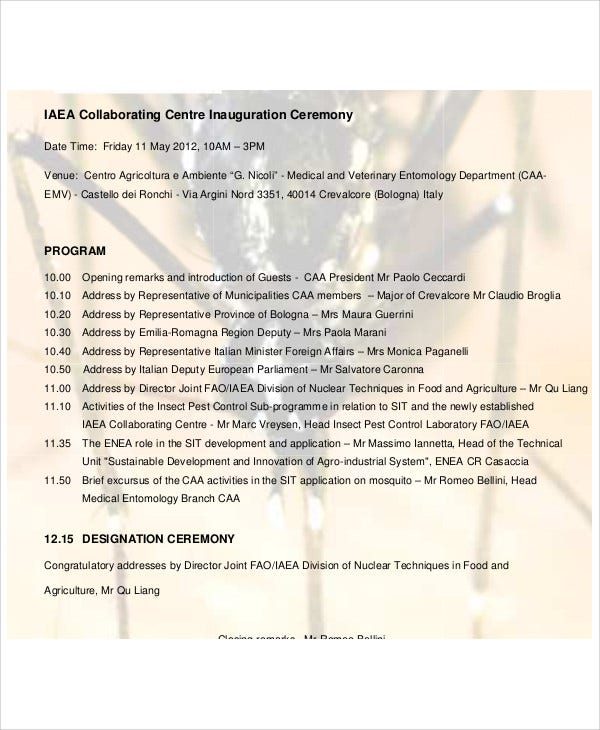 inauguration ceremony agenda