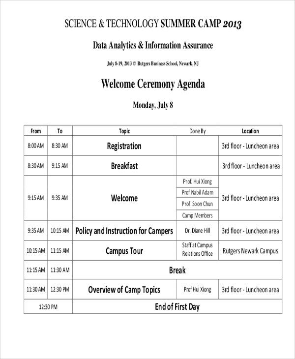 Ceremony Agenda Templates - 9+ Free Word, Pdf Format Download