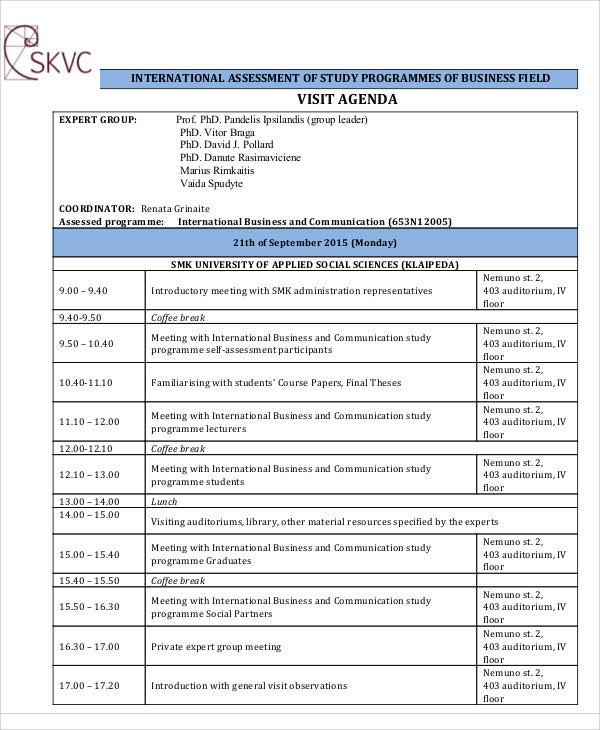Sample Visit Agenda  Free Sample Example Format Download