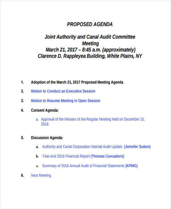 Audit Agenda Templates 9 Free Word Pdf Format Downlaod Free