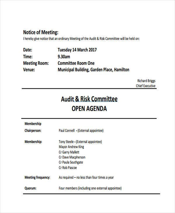 audit agenda templates 9 free word pdf format downlaod
