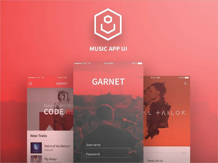 Flat UI Music App Design