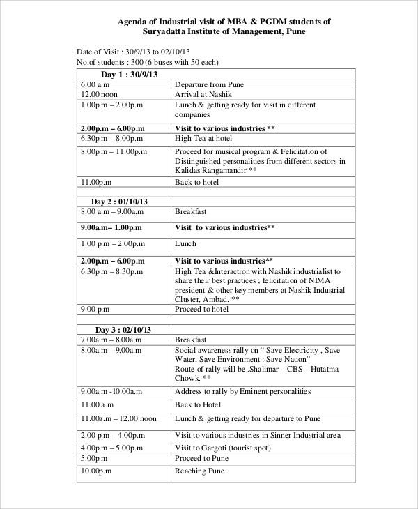 9 sample visit agenda free sample example format download free