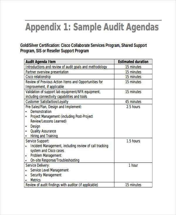 Audit Agenda Templates   Free Word Pdf Format Downlaod  Free